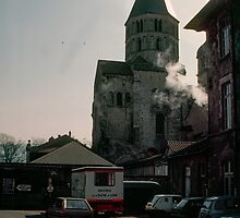 Remaining transept straight sided roof tower Abbaye de Cluny 198403070032 by Fred Mitchell