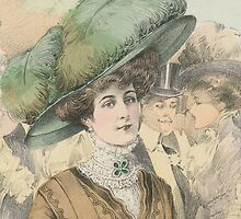 Paris Fashion Lady in a Green Hat by studio20seven