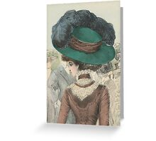 Paris Fashion Lady in a Green Hat II Greeting Card