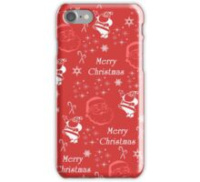 Red white Santa Claus snowflakes Merry Christmas iPhone Case/Skin