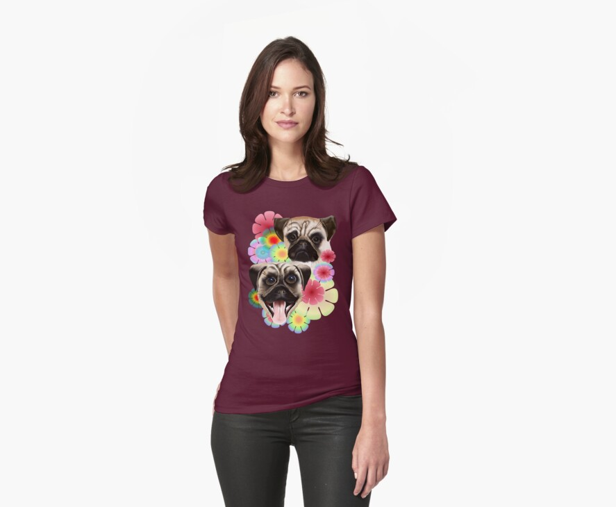 Happy Pug Grouchy Pug-Very bright flowers by Lotacats