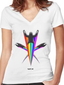 Sloth Rainbow Women's Fitted V-Neck T-Shirt