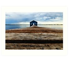 Lowdown on the Boatshed Art Print