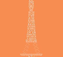 'Wordy Structures' Eiffel Tower Orange by Becki Breed