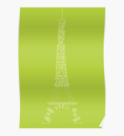 'Wordy Structures' Eiffel Tower Green Poster