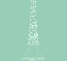 'Wordy Structures' Eiffel Tower Blue by Becki Breed
