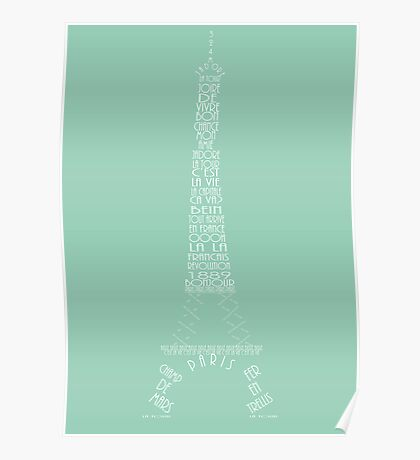 'Wordy Structures' Eiffel Tower Blue Poster