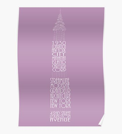 'Wordy Structures' Chrysler Building Purple Poster