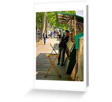 A street vendor on the Left Bank in Paris Greeting Card