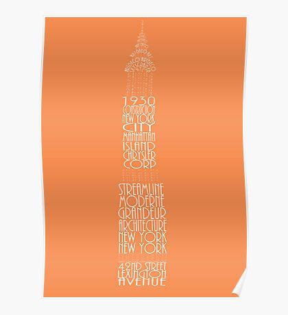 'Wordy Structures' Chrysler Building Orange Poster
