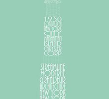 'Wordy Structures' Chrysler Building Blue by Becki Breed