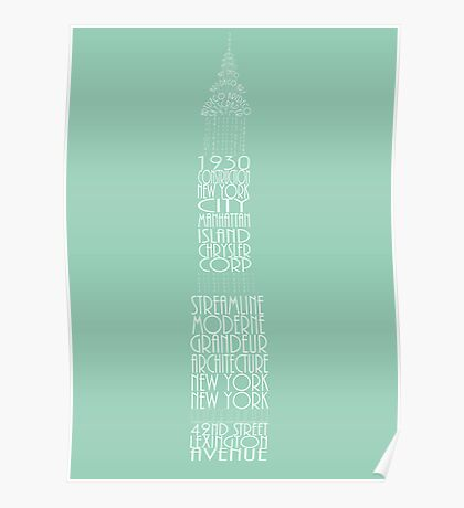 'Wordy Structures' Chrysler Building Blue Poster