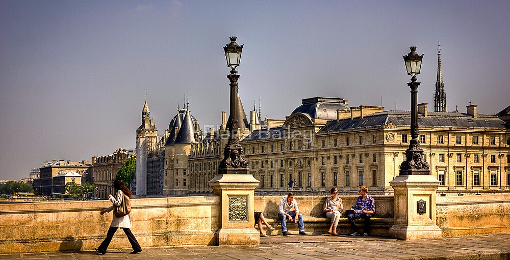 Friends chat on the Ponte Neuf in Paris by Elana Bailey