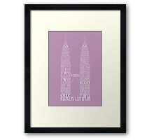 'Wordy Structures' Petronas Towers Purple Framed Print