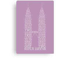 'Wordy Structures' Petronas Towers Purple Canvas Print
