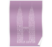 'Wordy Structures' Petronas Towers Purple Poster