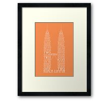 'Wordy Structures' Petronas Towers Orange Framed Print