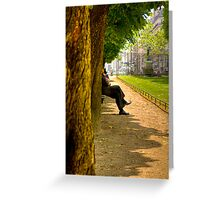 Reflecting in a park in Paris Greeting Card