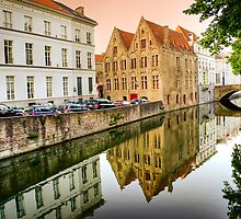 Reflections on the canal in Bruges by Elana Bailey