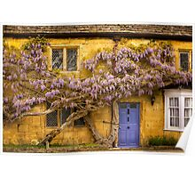 Wisteria and a purple door in the Cotswolds Poster