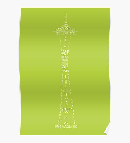 'Wordy Structures' Space Needle Green Poster