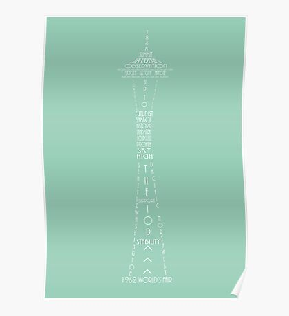 'Wordy Structures' Space Needle Blue Poster