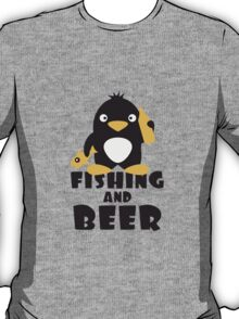 Fishing And Beer Penguin T-Shirt