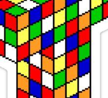 Pixel Cube Cross Sticker