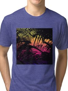 Tropical Black Palm Fronds on Pink, Orange, Yellow Tri-blend T-Shirt