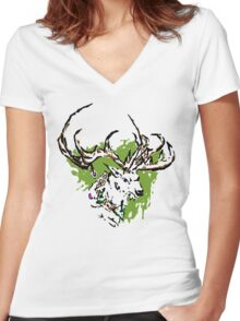 Inky Stag Women's Fitted V-Neck T-Shirt