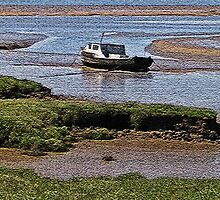 Boat moored in the mud by Avril Harris