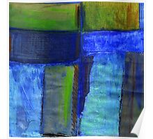 Abstract landscape with blue Poster