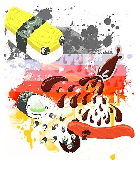 Sushi explosion by Lemon-zombie