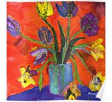 purple and yellow flowers Poster