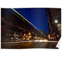Chicago streets time exposure Poster