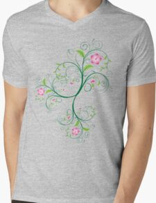 Swirly Flowers Mens V-Neck T-Shirt