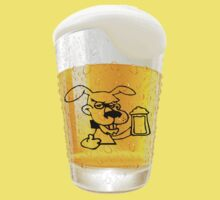 Glass of Beer With Dog Drinking Beer Label by pjwuebker