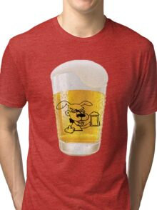 Glass of Beer With Dog Drinking Beer Label Tri-blend T-Shirt