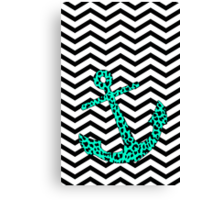 Mint Leopard Anchor Canvas Print