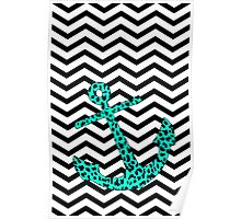 Mint Leopard Anchor Poster