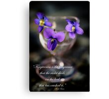 Purple Violets in Eye Cup Canvas Print