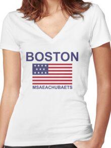 BOSTON MSAEACHUBAETS Women's Fitted V-Neck T-Shirt