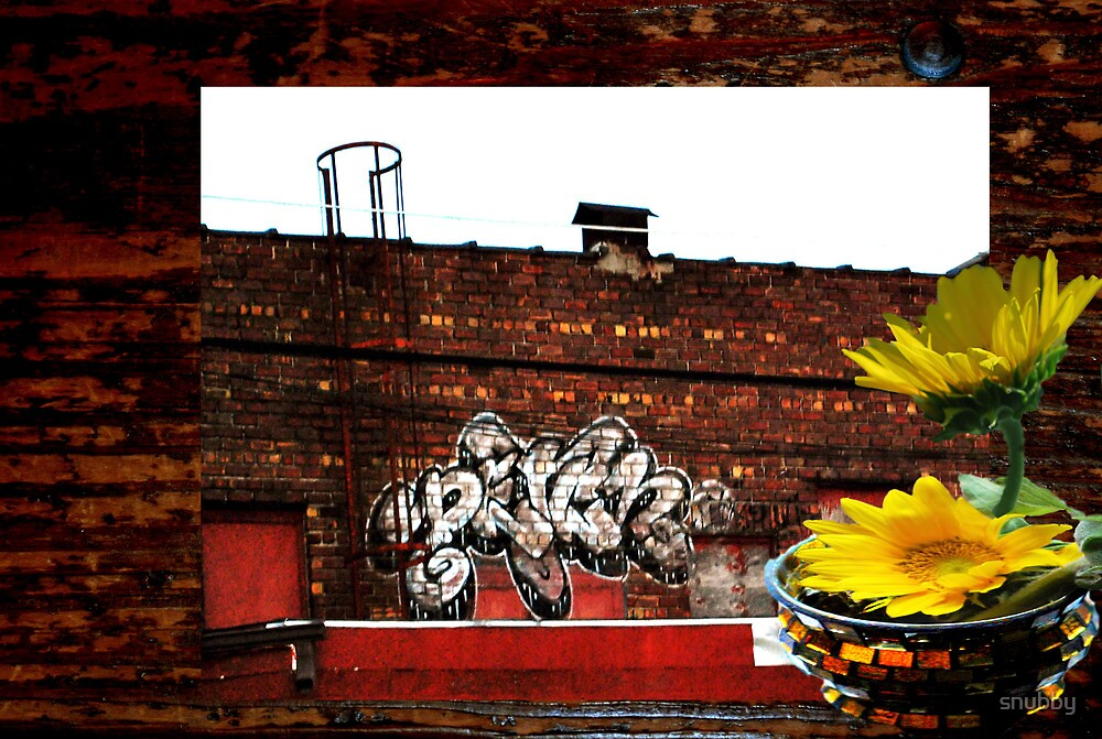 Wood Grain and Graffiti Sunflower by snubby