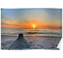 Sand Castle Sunset HDR Poster