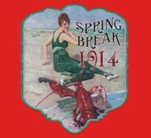 Spring Break 1914 - Summer Vacation Parody Design - Retro Bathing Beauty at the Beach - Lobster Musician by traciv