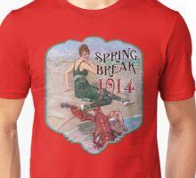 Spring Break 1914 - Summer Vacation Parody Design - Retro Bathing Beauty at the Beach - Lobster Musician Unisex T-Shirt