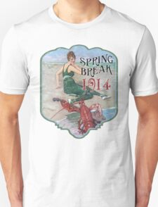 Spring Break 1914 - Summer Vacation Parody Design - Retro Bathing Beauty at the Beach - Lobster Musician T-Shirt