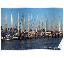 Yachts  on Hobson Bay Poster