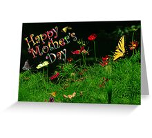 Mothers Day with Flowers and Butterflies Greeting Card
