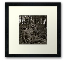 pieta Mary mourning her dead son Framed Print